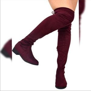 Red Wine Over the Knee Flat Boots Womens Size 9